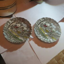 2 petites assiettes avec scène de diligence avec chevaux « Myott Royal Mail Fine