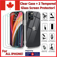 For iPhone 12 11 Pro MAX Mini X 7 8 Plus Clear Case Cover Glass Screen Protector