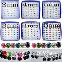20Pair/Box Lots Of Silver Colorful Crystal Ear Stud Earrings Set Women Jewelry