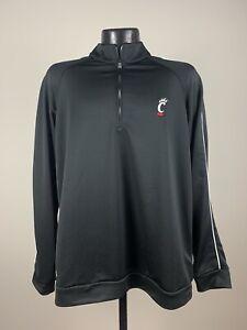 Men's Adidas Cincinnati Bearcats Black/Red 1/4 Zip Coaches Knit Pullover NWT 2XL