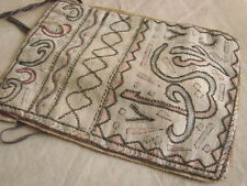 "Vintage Antique Purse Bag Embroidered Metallic Drawstring 6x8"" Turkish"