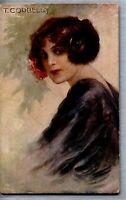 TITO CORBELLA Glamour Girl Flowers Donnina Fiori PC Serie 718/5 Viaggiata 1918