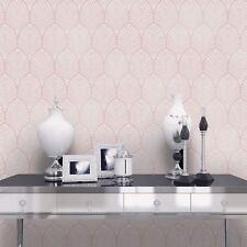 Gatsby Art Deco Wallpaper Dusky Pink - Holden Decor 65252 Metallic