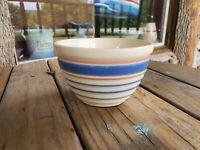 Vintage McCoy USA E-1-5 Stoneware Bowl beige blue & pink stripes