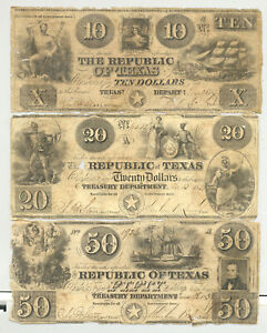 $10, $20 and $50 Redback banknotes issued by The Republic of Texas in 1839 CC
