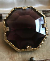 Vintage Statement Purple Glass Geometric Brooch
