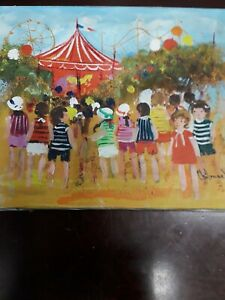 Chilmark Signed Painting at The Fair Vintage Art Colorful Children Carnival