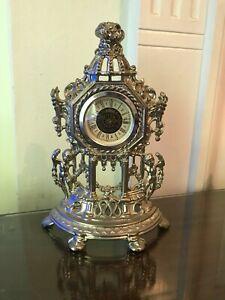 Old Vintage Victorian Style Mechanical Cherub Spelter Metal Mantle Clock Rococo
