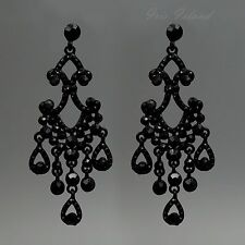 Black Alloy Jet Crystal Rhinestone Chandelier Drop Dangle Earrings 00858 New