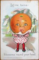 Raphael Tuck 'Garden Patch' 1908 E. Curtis/Artist-Signed Postcard: Orange Girl 1