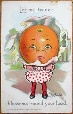 Raphael Tuck 'Garden Patch' 1908 E. Curtis/Artist-Signed Postcard: Orange Girl 1