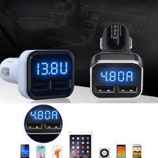 Dual Ports 4.8A USB Car Cigarette Charger Lighter Adapter Digital LED Voltmeter