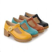 Sz Shoes Ladies Platform Cuban Heel Brogue Round Toe Oxford Casual Style Classic
