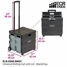 Ecr4Kids Universal Rolling Cart with Lid - Folding Mobile Organizer for Teachers