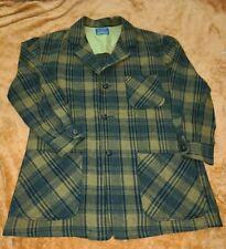 Vintage PENDLETON Flannel Virgin Wool Shirt Shadow Plaid Smoking Jacket Size M