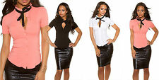 camicia donna avvitata maniche corte elasticizzata fiocco nero misto cotone