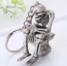 Skeleton Sit on Toilet Skull Rubber Keyring Key Chain Charm Pendant Funny Gift
