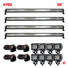4X LED Work Light Bars 50inch Flood Spot SUV Truck Driving Offroad For Jeep Ford