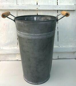 Grey Metal Vase Florist Bucket with Wooden Handles Flower Pot Container 20cm