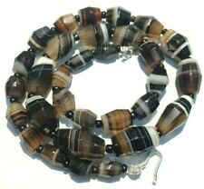 RARE antique  banded aGATE fACETED bEADS nECKLACE