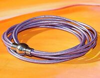 Womens lilac leather and stainless steel double wrap bracelet by Lyme Bay Art