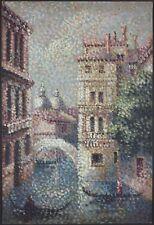 """Ancien Tableau """"Canal à Venise"""" Peinture Huile Toile Antique Oil Painting"""