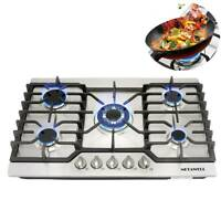 "Silver 30"" COOKTOP Steel Built-in 5 Burner Stoves LPG/NG Gas Hob Cooktops Cooker"