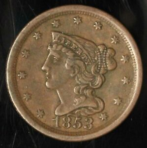 1853 1/2c Braided Hair Half Cent - Free Shipping USA