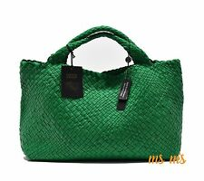 FALOR DESIGNER HAND woven GREEN leather Hobo tote Handbags With match Pouch RARE