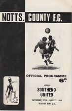 NOTTS COUNTY v SOUTHEND UNITED ~ 17 AUGUST 1968 ~  FOOTBALL PROGRAMME