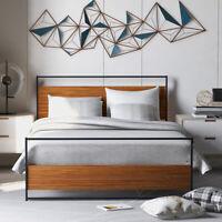 Full Size Bed Frame Metal Wooden Bed Platform W/Headboard Footboard Wood Slat