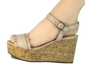Kate SpadeTomas women's wedge sandals nude leather buckle size 6.5M