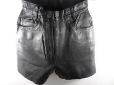 Classic Women Leather High Waist Shorts 10 W26 Black GRADE A M494