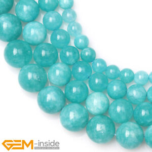 Round Blue Amazonite Color Jade Loose Beads For Jewellery Making Strand 15'' AU