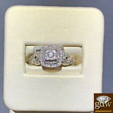 Real 10k Yellow Gold and Diamond Women's Bridal ring for Wedding/Engagement, New