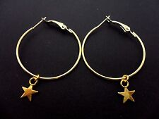 "A PAIR OF SIMPLE GOLD COLOUR 35 MM 1.5"" HOOP & STAR  EARRINGS. NEW."