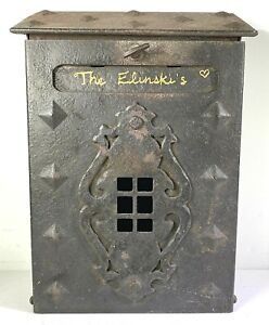 Vintage Heavy All Metal Mail Box with Crest Porch Mount House Mailbox