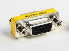 VGA SVGA HD 15 Pin Slimline Gender Changer Charger Adapter F/F Female to Female