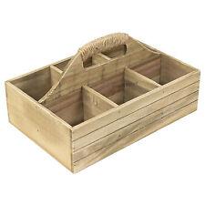 6 Caja de Almacenamiento Compartimiento Vintage Cajón de madera cubiertos Holder Caddy de la botella de leche