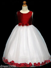 Girl's  Recital, Pageant  Silk Petal Dress,Red/White Size: 11/12 (11-12 years)