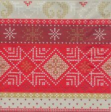 2 Serviettes en papier Décor Noël Elvar Rouge - Paper Napkins Christmas