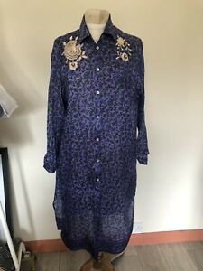 Gorgeous Purple/Blue Indian Print Embroidered Recycled Silk Shirtdress 10/12/14