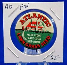 Atlantic Lawn Grass Seed Make Your Place Look Like Home Ad Pin Button 1 1/4""