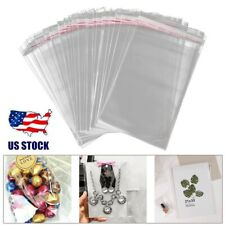 100pcs Clear Cello Cellophane Bags Self Adhesive Seal Plastic Bags Opp Poly Bag