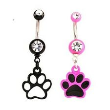 Paw Belly Ring Animal Black Pink White Dangle Navel Clear CZ 14g Body Jewelry