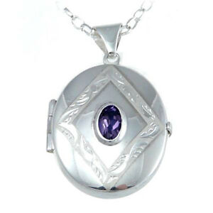 """STERLING SILVER AMETHYST OVAL LOCKET PENDANT WITH 18"""" CHAIN - MADE IN UK"""