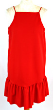 ZARA Women Tunic Dress Large 12 14 Red Strappy Pique Loose Thick Lined