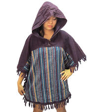 Peasant Boho Hand Woven Cotton Hooded Maxican Poncho/Sweater with Fringe T0286A