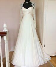 Kate Middleton style Sassi Holford mariage robe de soie ivoire & dentelle manches 10 12