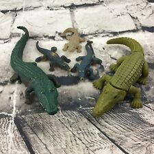 Alligator Crocodile Figures Lot Of 5 Rubber Plastic Swamp Bayou Animal Toys